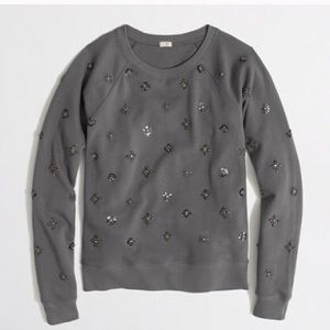 J crew grey beaded embellished sweatshirt s